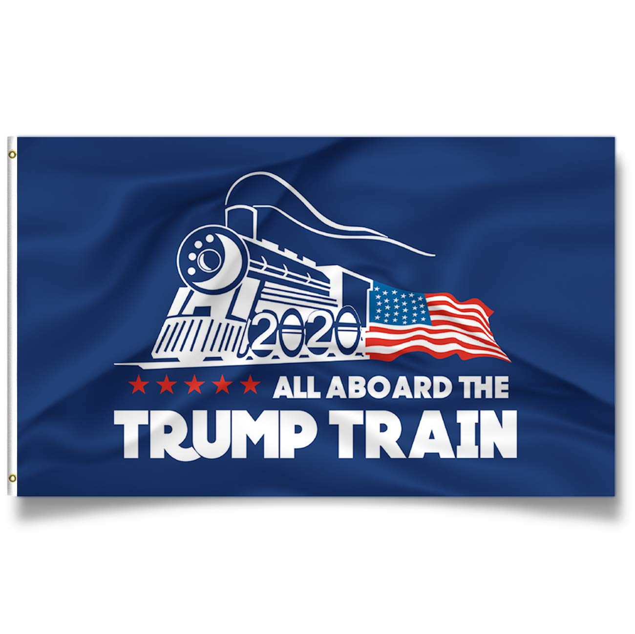 Kaiyuan Dynasty Trump Flag Train Donald Trump Flags Support For President 2020 Banner – All Aboard The Trump Train 3 X 5 Feet With Two Brass Grommets