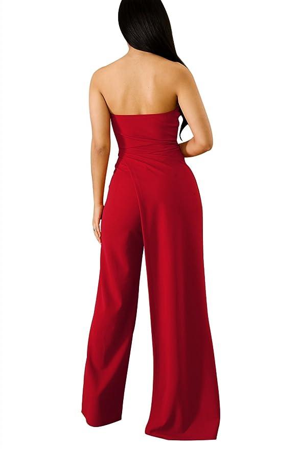 524d795b127 Amazon.com  Acelitt Women s Off Shoulder Sleeveless Asymmetric Split Leg  Strapless Jumpsuit Rompers  Clothing