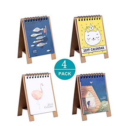 Amazon.com : 4 Pcs Mini 2019 Desktop Calendar, Stand Up ...