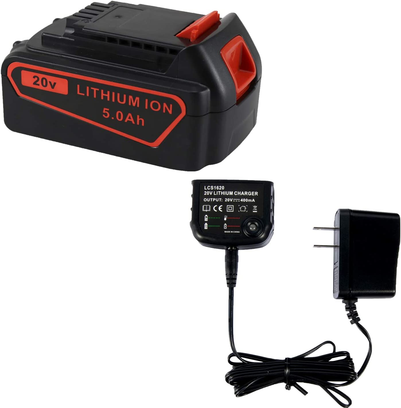 Cell9102 20V Lithium Battery and Charger for Black and Decker 20V Battery LBXR20 BXR20-OPE LBXR2020 LBXR20 and LCS1620 Charger, Capacity Output 5.0Ah