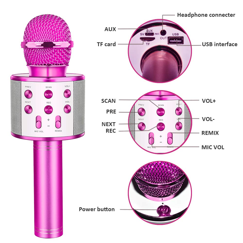 Tesoky Best Toys for 5-12 Year Old Girl, Handhold Wireless Bluetooth Potable Karaoke Microphone Machine Speaker Unique Gift for 5-12 Year Old Girl Boys Teen Party Favors Travel Toys TESOKYG02 by Tesoky (Image #6)