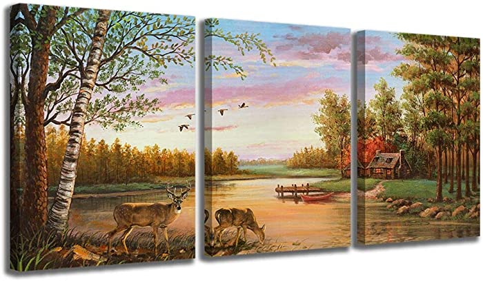 Deer Wall Art Canvas Art Wall Decor for Bedroom Wildlife Cabin Deer Pictures Artwork Country Canvas Prints Wall Decorations for Home Decor Size 12x16 Each Panel Easy to Hang