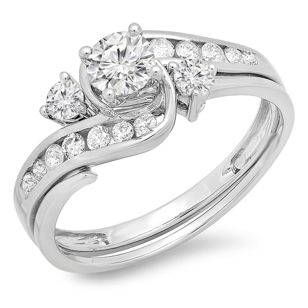 0.90 Carat (ctw) 14K White Gold Round Diamond Swirl Bridal Engagement Ring Set 1 CT (Size 6)