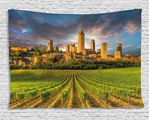Ambesonne Italy Tapestry, Vineyards of San Gimignano Tuscany Historic Architecture Dramatic Sky Clouds, Wall Hanging for Bedroom Living Room Dorm, 60 W X 40 L Inches, Apricot Green