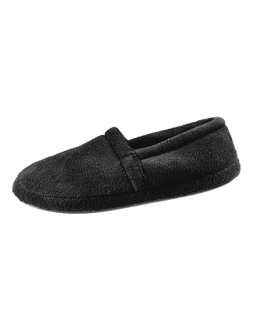 Most Comfortable Mens Slippers - Best Mens Slippers With Memory Foam Comfort Slippers - Wide Mens Bedroom Slippers – Terry Fleece Slippers - Black LGE
