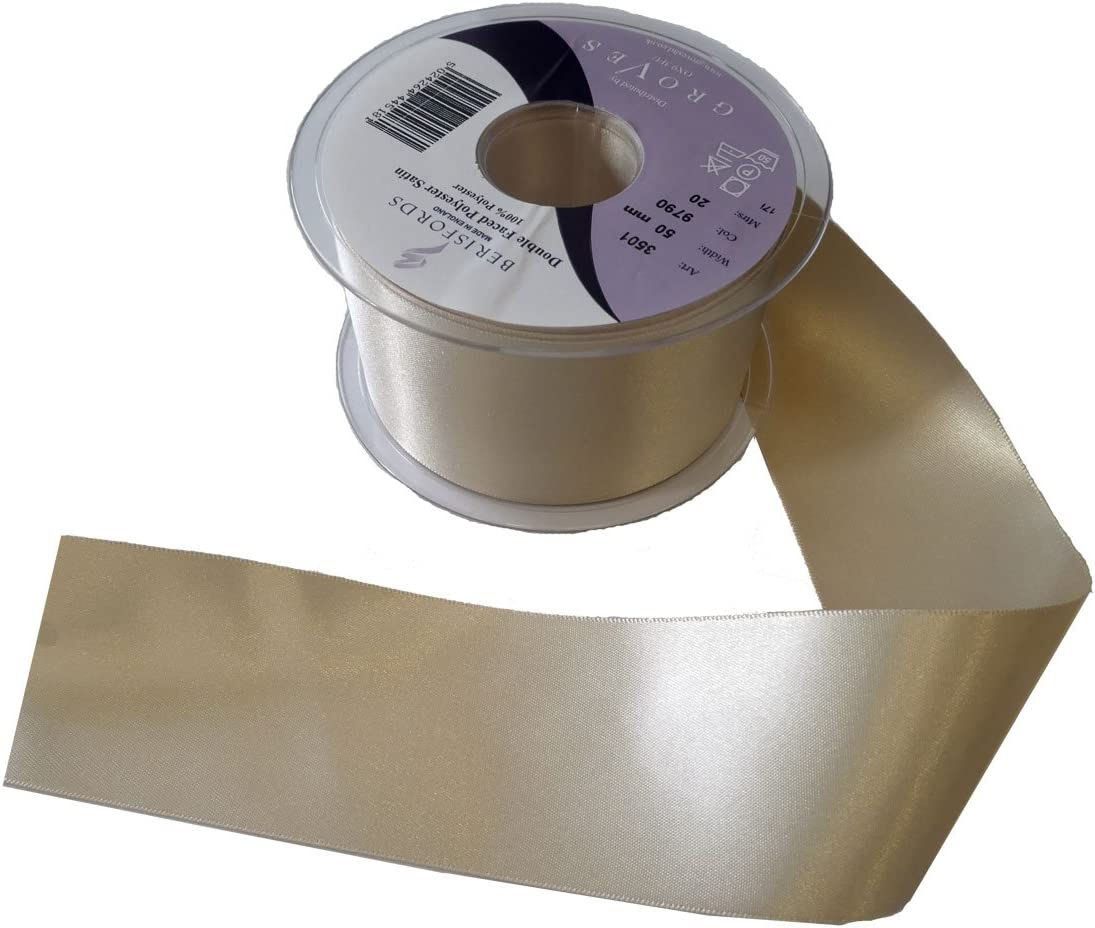 Berisfords Premium Double Satin Ribbon Full 50 Metre Roll Choose Shade /& Width