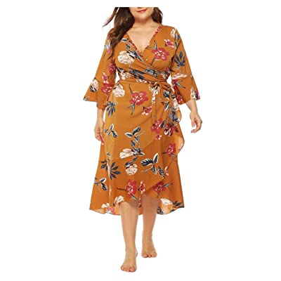 Sttech1 Plus Size Long Dress for Womens, Horn Sleeves V-Neck Dresses Casual Floral Print Cross Wrap Dress with Belt: Clothing