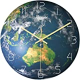 Luminous Oceania Area Shape Wall Clock Battery Powered Hanging Clock Glow in The Dark for School Office Kitchen No…