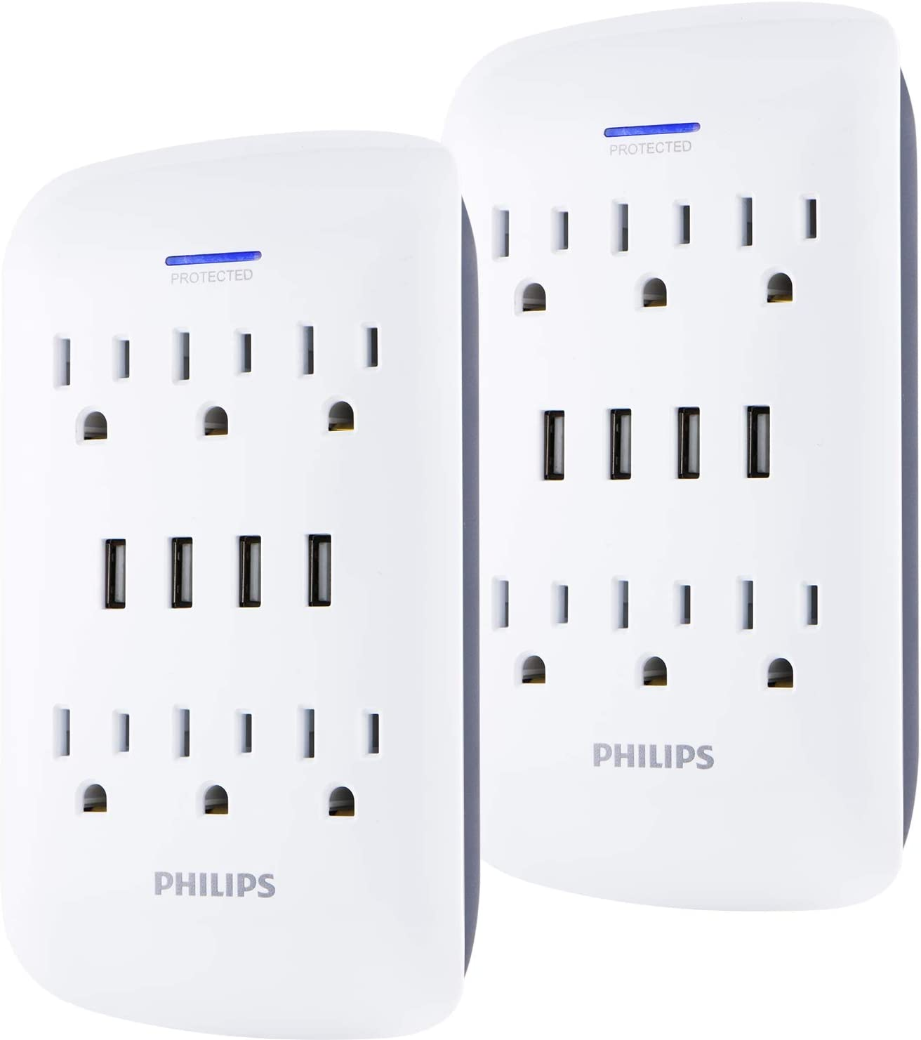 PHILIPS 6-Outlet Surge Protector Wall Tap with 4 USB Ports, 2 Pack, Charging Station, Power Adapter, 900 Joules, Extender, White, SPP6469WG/37