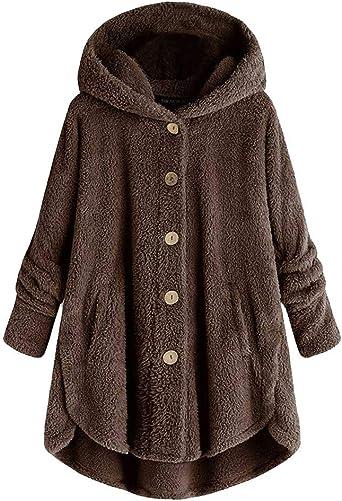 Lulupi Oversized Teddy bluza z kapturem damska pluszowy płaszcz z kieszeniami polarowa kurtka pluszowa jesień jednokolorowy sweter zimowy sweter z kapturem Sweater Outwear: Odzież