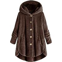 Womens Oversized Hooded Coats Warm Wool Plush Button Cardigan Hoodies Sweaters