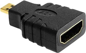 eforcity HDMI - Micro HDMI Negro, Oro - Adaptador para Cable (HDMI, Micro HDMI, Male Connector/Female Connector, Negro, Oro)