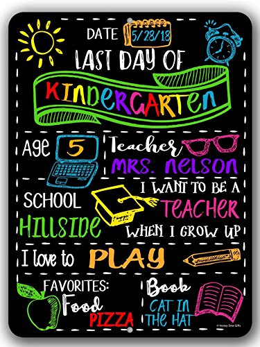 Honey Dew Gifts Chalkboard Style Last Day of School Photo Prop Tin Sign -9 x 12 inch Reusable Easy Clean - Customizable with Liquid Chalk Markers (Not -