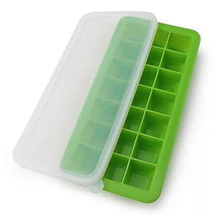 Juego de bandejas con tapa – überdachter cubitos de hielo Cubitera de silicona con 21 cubitos
