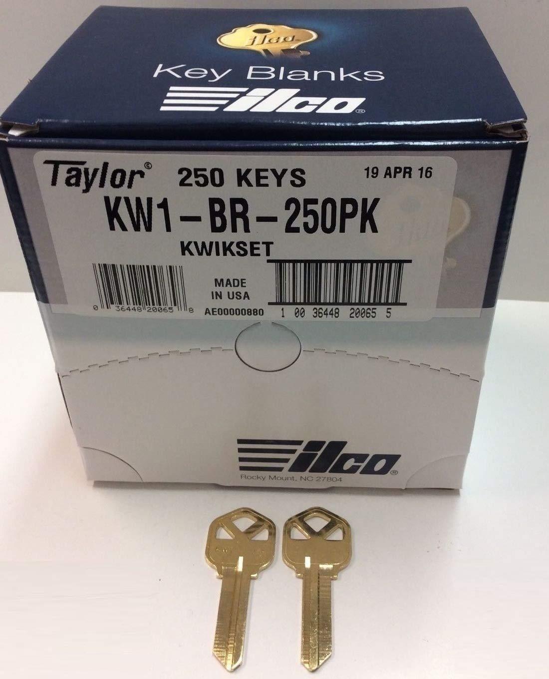 MSPowerstrange 250 Key Blanks KW1-BR-250BK for Locksmith / 250 Kwikset KW1 / Brass/Made by Ilco