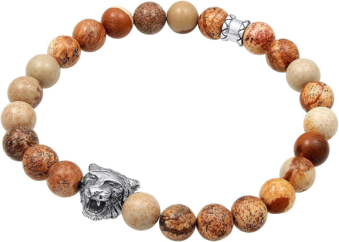 kuzzoi 0201490719_19 - Pulsera de Buda para hombre con piedras preciosas de ágata marrón y colgante de cabeza de tigre de plata de ley 925, longitud 19 cm