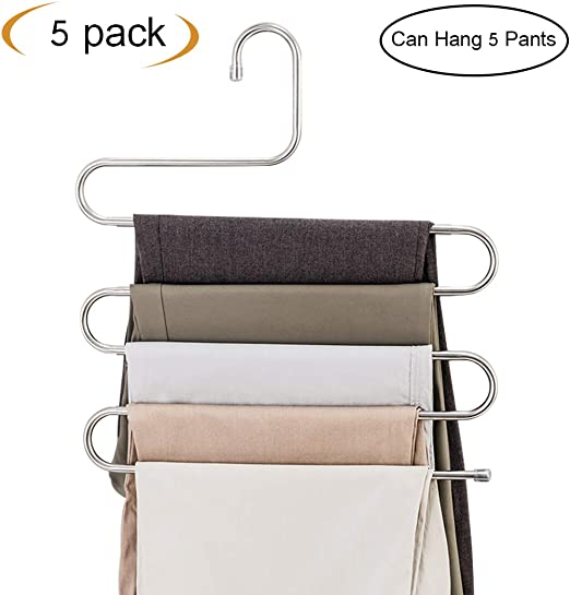 Pants Hangers S-Type Stainless Steel Multi Layers Jeans Hanger Storage Organizer