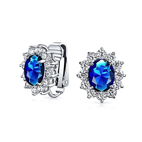 87c87a1cb Royal Blue Oval Shape CZ Halo Stud Statement Clip On Earrings Simulated  Sapphire Cubic Zirconia Silver Plated Brass  Amazon.ca  Jewelry
