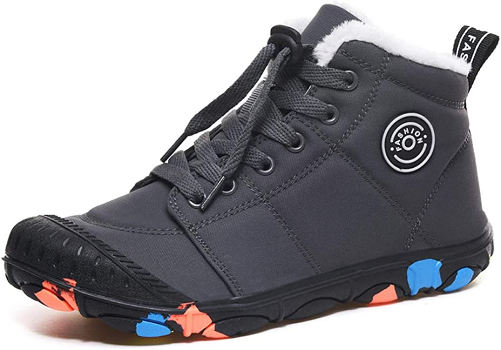 Snow Boots Kids Winter Boots Boys Girls Warm Fur Lined Hiking Walking Cilmbing Shoes Childrens Trainers School Outdoor Lightweight Ankle Booties Black Grey Blue Pink 11-6 UK