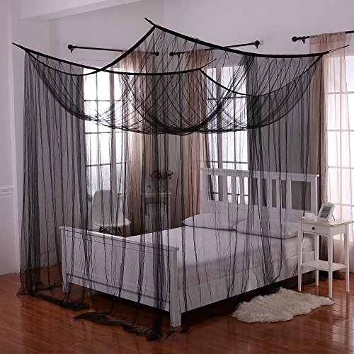 Heavenly 4-Post Bed Canopy, Black (Home Queen Canopy Bed)