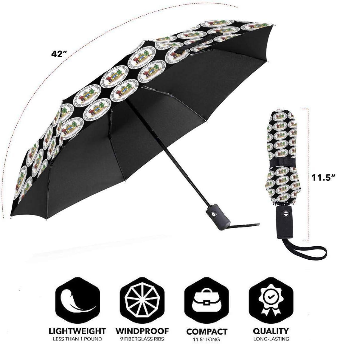 Delaware Flag Automatic Folding Umbrella Sunshade Tri-fold Rain Umbrella