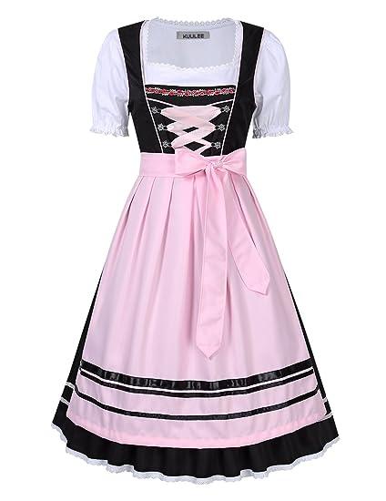 Kuulee Vestido Dirndl Disfraz de Bávara para Oktoberfest ...