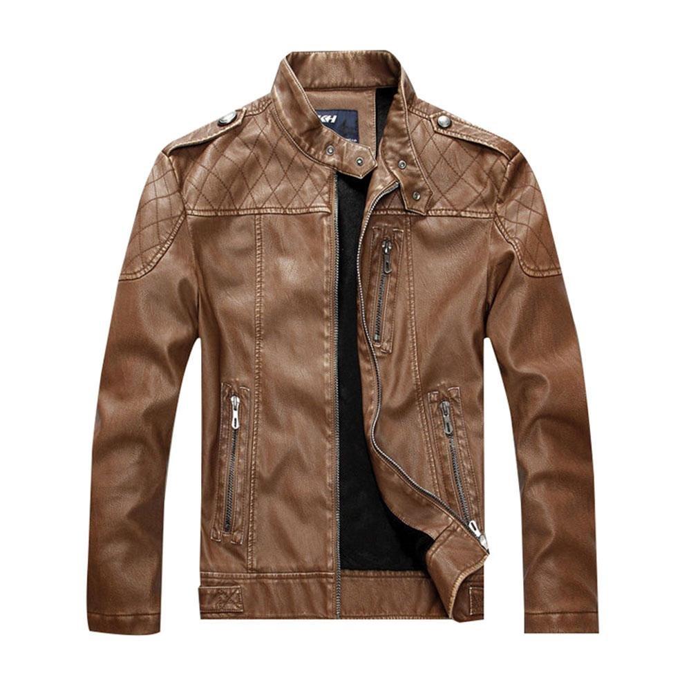 Womdee Men's Fashion Vintage Zipper Stand Collar Faux Leather Winter Jacket Coat
