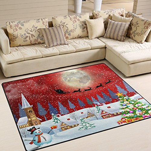 Full Moon Santa - Naanle Winter Landscape Area Rug 5'x7', Christmas Snowman Tree Santa Clause Reindeer Under the Full Moon Polyester Area Rug Mat for Living Dining Dorm Room Bedroom Home Decorative