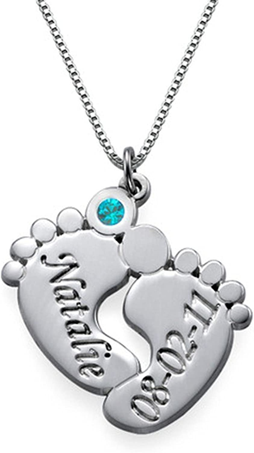 Custom Pendant Gift for Mom Junmei Personalized Two Heart Engraved Necklace with CZ Birthstones