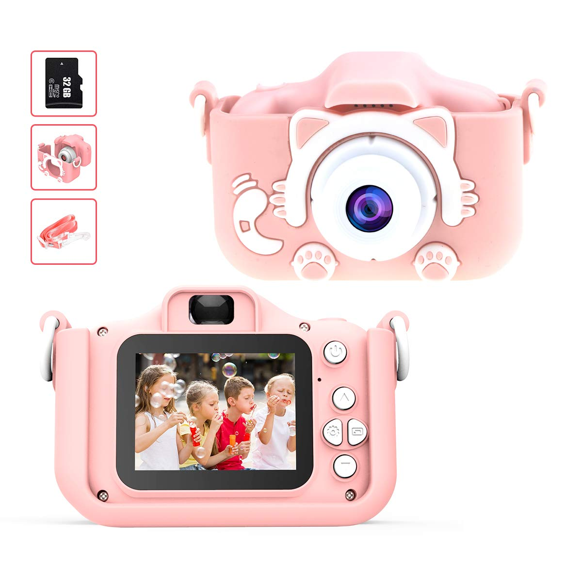 Kids Camera for Girls, Digital Dual Camera 2.0 Inches Screen 1080P Video Camcorder Anti-Drop Children Selfie Cartoon Camera for Age 3-12 Years - 32GB Memory Card Included by Sinohrd