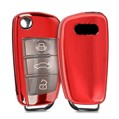 kwmobile Car Key Cover Compatible with Audi 3 Button Flip Key - Soft TPU Fob Cover for Car Keys - Red High Gloss: Automotive