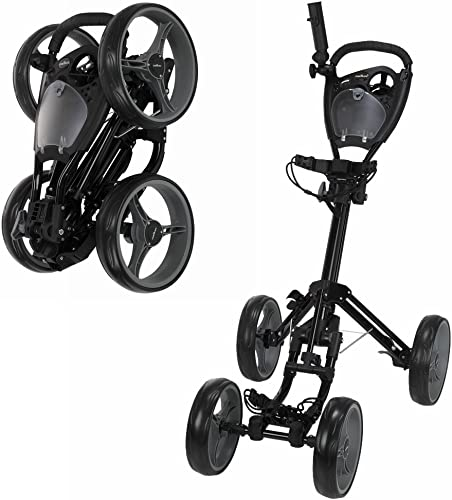 Caddymatic Golf Quad 4-Wheel Folding Golf Pull Push Cart Black