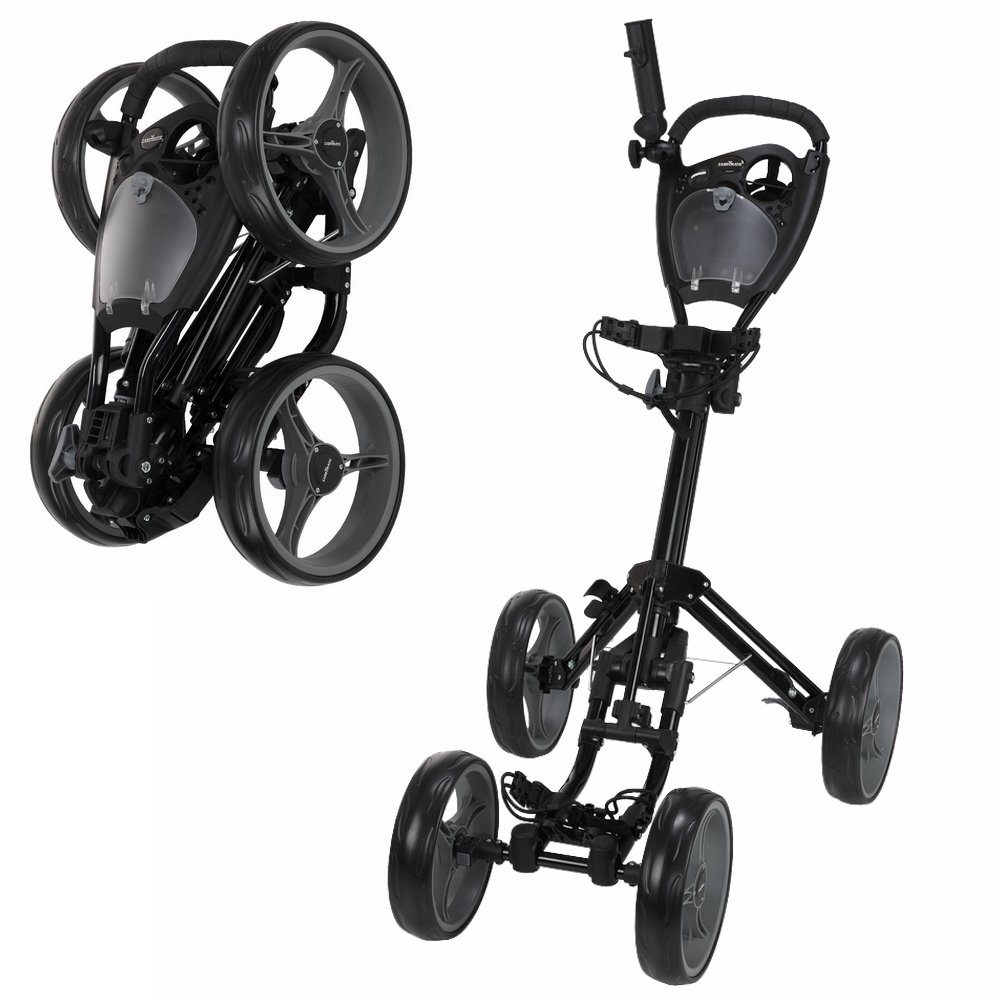 Caddymatic Golf Quad 4-Wheel Folding Golf Pull/Push Cart Black