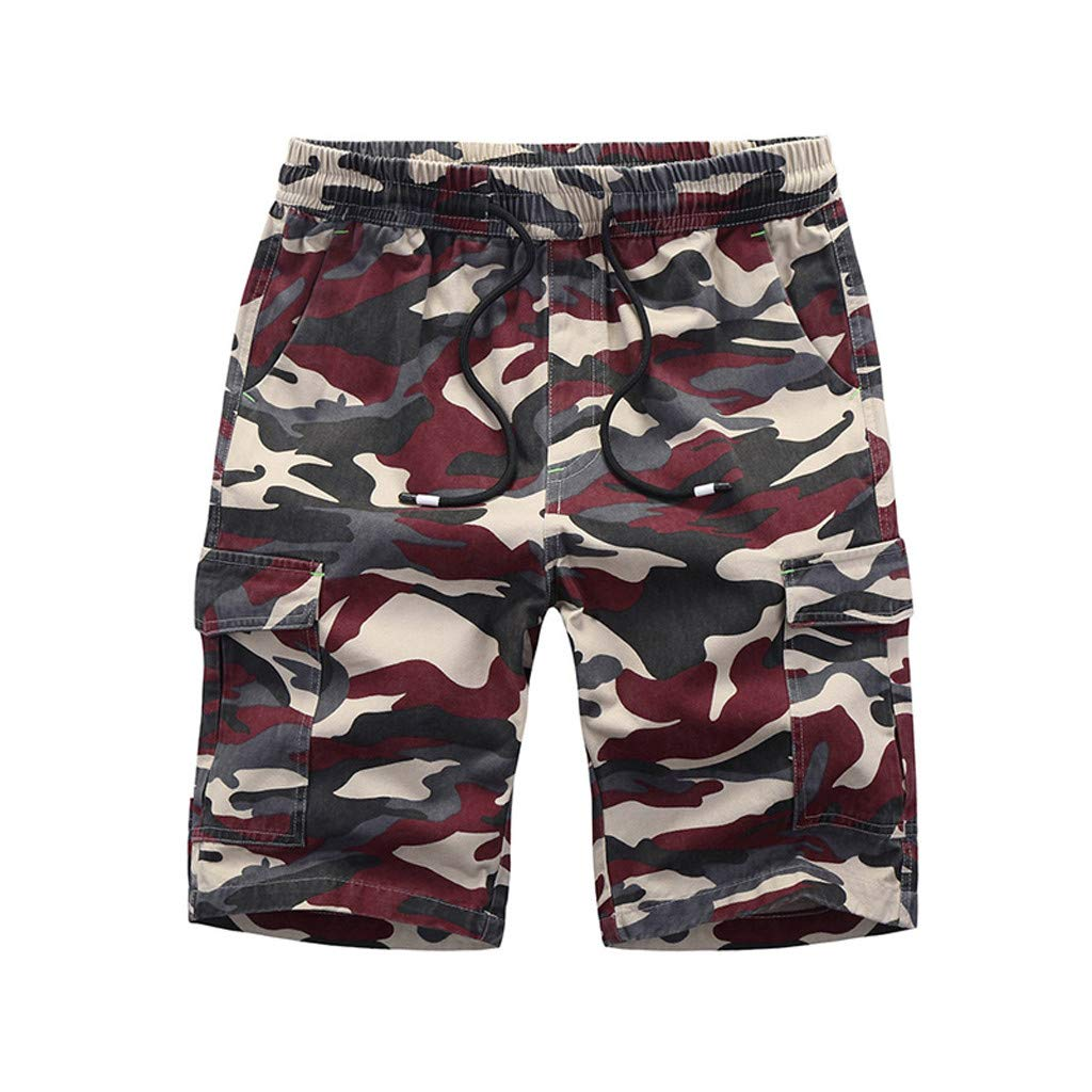 Men's Beach Shorts, Casual Loose Cotton Camouflage Breathable Trousers Baggy Gargo Short Pant with Pockets