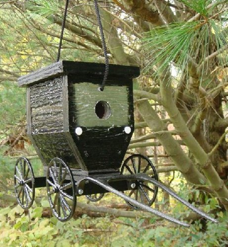 Painted Amish Buggy - Amish Buggy Birdhouse. Made of high quality painted wood and cast aluminum this birdhouse is made to closely resemble the same Amish buggies you would find on the roads and farms of our local Amish community. This unique piece looks great on a porch or small tree. Makes a great gift! Each birdhouse is handmade by skilled Amish craftsmen, then hand packaged and shipped. You will not be disappointed with this purchase!
