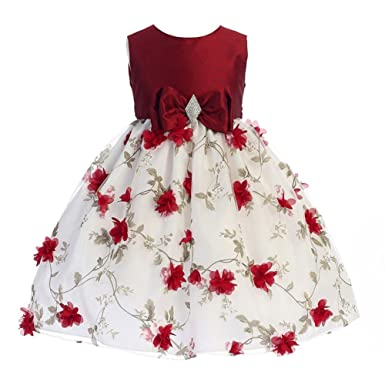 571177596168b Crayon Kids Little Girls Red White Flower Brooch Bow Christmas Dress 2T