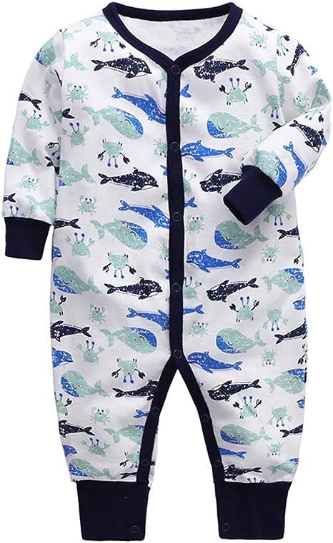 Body Mameluco para Bebés Niños Manga Larga Mono Pijamas Infante Niña Algodón Ropa de Dormir Ballena 0-3 Meses: Amazon.es: Bebé