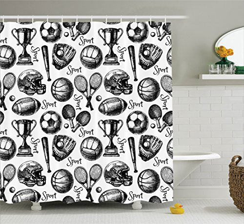 Ambesonne Sports Decor Collection, Sketch Sport Pattern with Balls Competition Summer Ping Pong Schoolyard Design, Polyester Fabric Bathroom Shower Curtain Set with Hooks, Black White