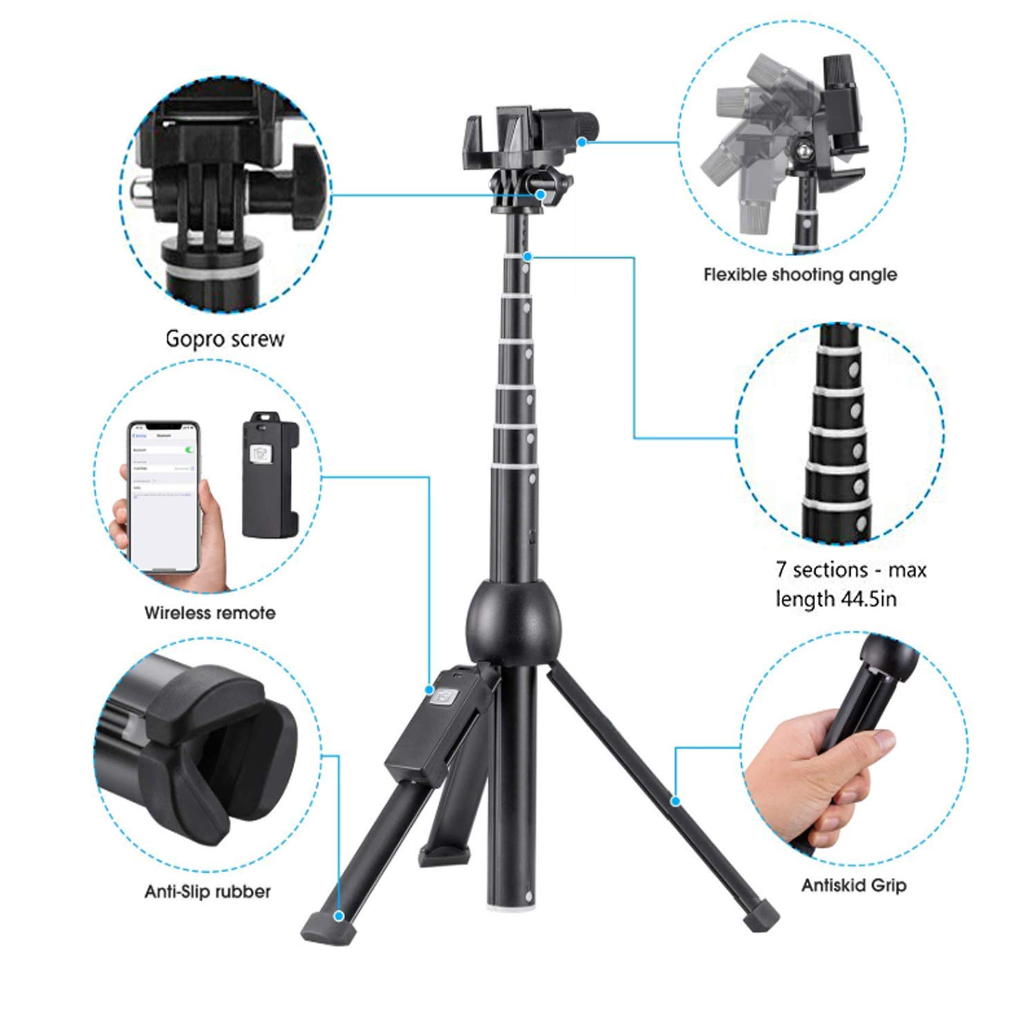 Eocean 45-Inch Selfie Stick Tripod, Extendable Selfie Stick with Wireless Remote Compatible with iPhone Xs/Xr/Xs Max/X/8 Plus/8/ iPhone XR/iPhone XS/iPhone XS Max/7 Plus/Galaxy Note 9/S9/S9 Plus/GoPro by Eocean (Image #2)