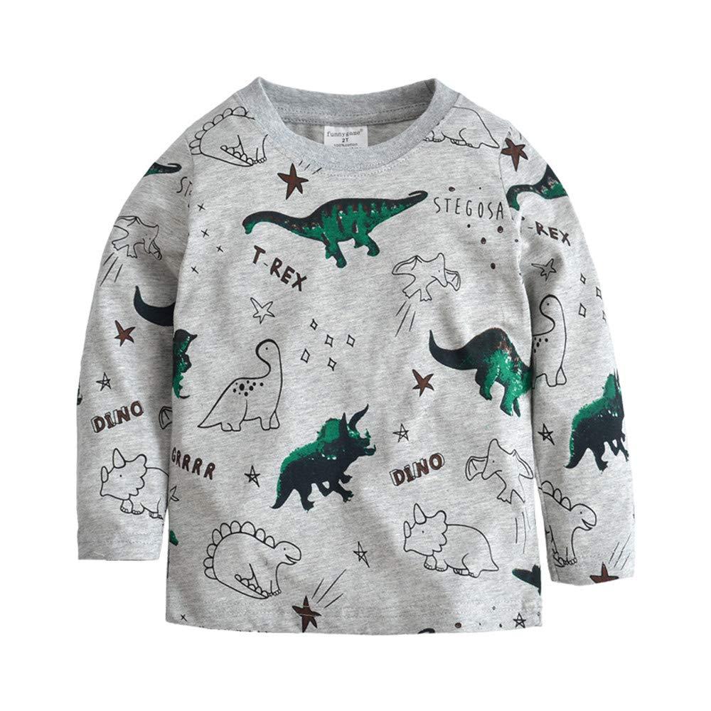 BABSUE Little Boys Dinosaur T-Shirt Long Sleeve Sweatshirts Cotton Crewneck Cartoon Tops Tees Kids 1-8 Years