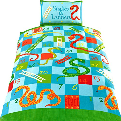 Childrens/Kids Snakes & Ladders Comforter Cover Bedding Set (One Size) (Green)