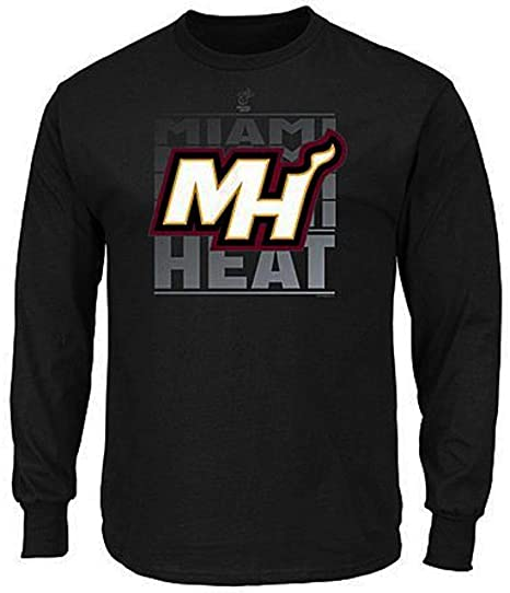 VF Miami Heat NBA Mens Majestic Jump Shot Long Sleeve Shirt Black Big    Tall Sizes fdcbf1a25