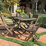 Vicaro | 5 Piece Wood Outdoor Dining Set | Perfect For Patio | in Grey