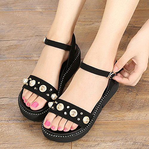 Sandalias perla Open Toe Zapatos de mujer Wedge Heel Plataforma PU artificial Zapatillas Casual,GJDE Black