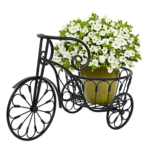 HomGarden Patio Mini Garden Nostalgic Bicycle Tricycle Planter Home Decor Iron Plant Stand - Flower Pot Cart Holder - Ideal for Home, Garden, Patio (Single Pot, Black)