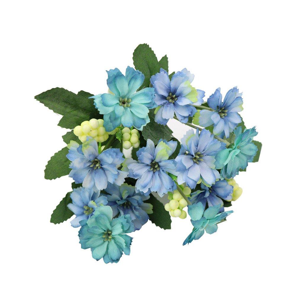super1798 1ブーケFake Little Daisy人工花ウェディングホーム装飾 – ブルー B07BQRFBBV