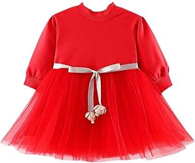 DAY8 Robe Fille Mode Vetement Bebe Fille Hiver Robe de soir/ée Fille Robe Princesse Fille Manche Longue Pull Fille Printemps Pas Cher Enfant Fille Tutu Robes Bebe 3 Mois 3 Ans