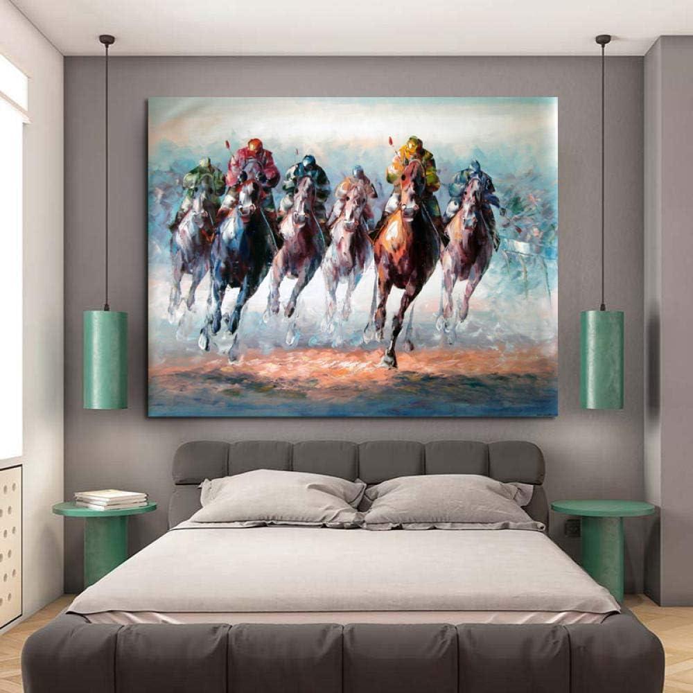 RuYun Seis Valientes Soldados y Caballos Modernos Cuadros de Lienzo para Sala de Estar Arte de la Pared Carteles Decorativos para el hogar 60cm x90cm No Frame