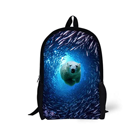 8c54b45388d8 Amazon.com | Dellukee Middle School Backpack 3D Bear Printed Black ...