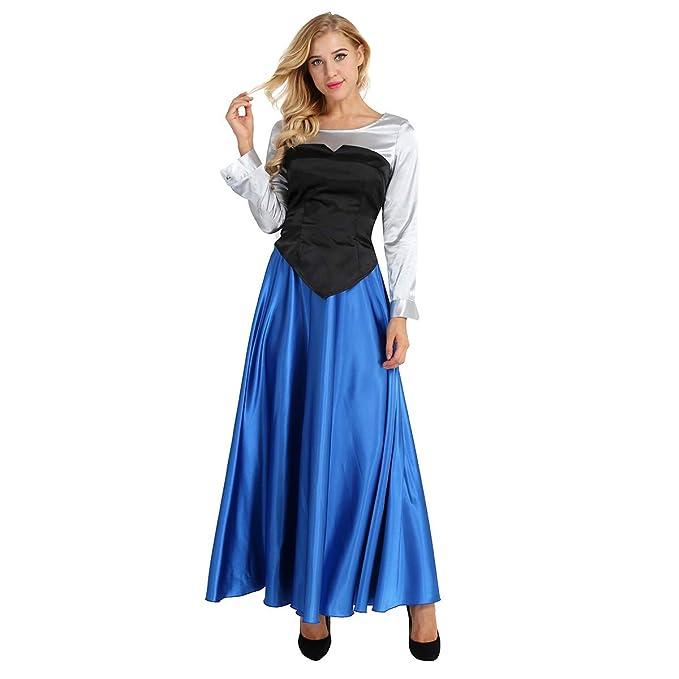 Agoky Disfraz de Princesa para Mujer Cosplay Dress Halloween Carnaval  Vestido de Fiesta Disfraces Camisa de Manga Larga + Top sin Tirantes +  Falda Larga  ... 3fba83b33d5